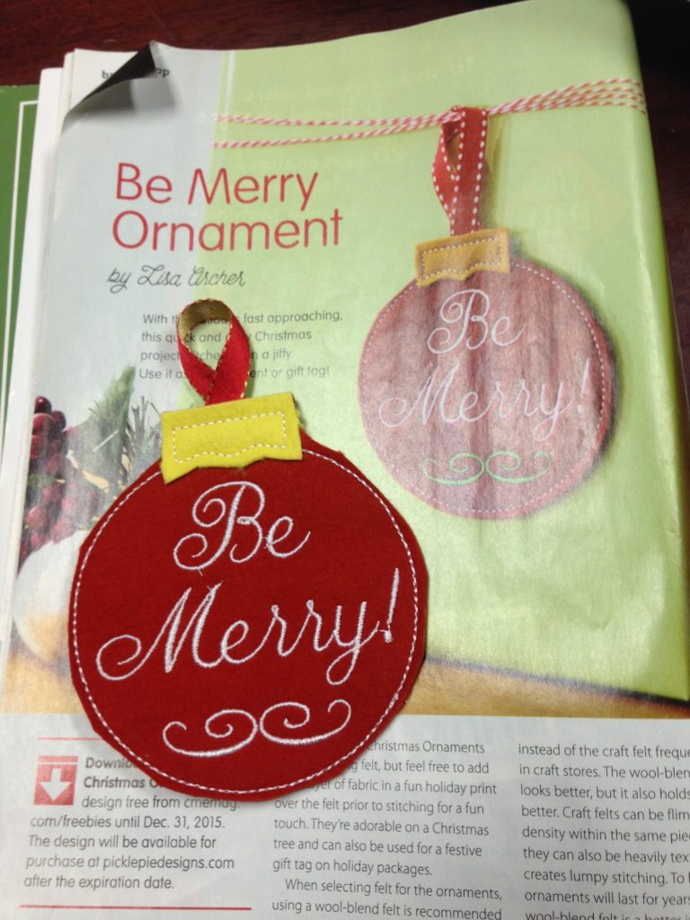 ITH Be Merry ornament