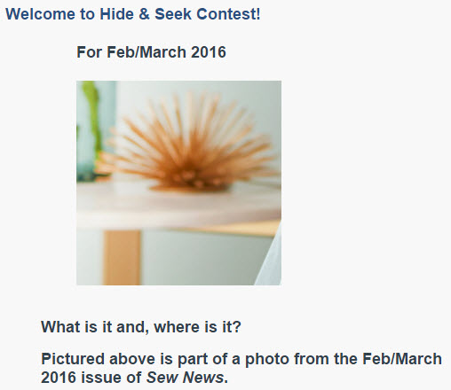 Sew News Hide and Seek Contest